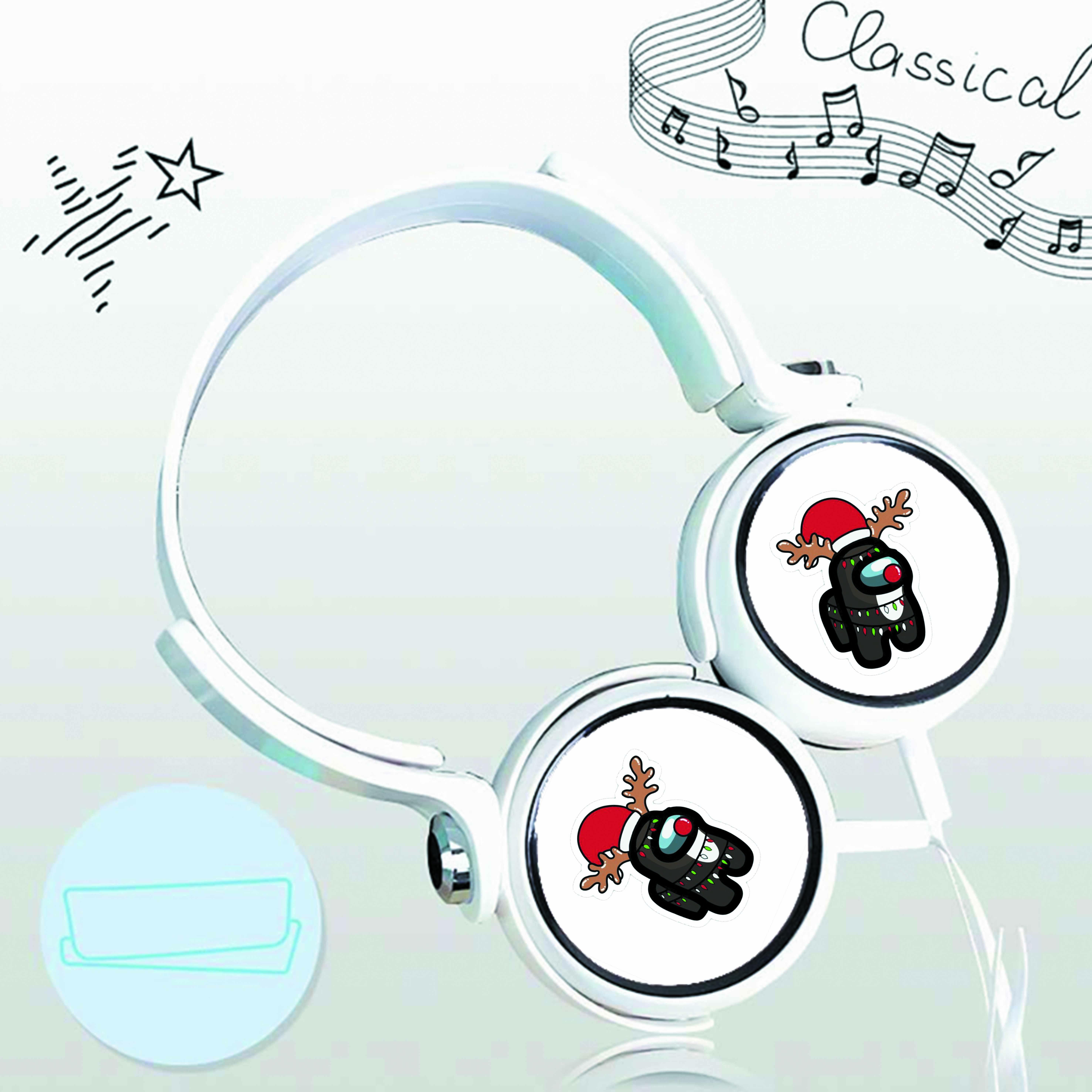 Tai nghe chụp IN HÌNH Among Us ver Giáng SInh cắm dây có mic