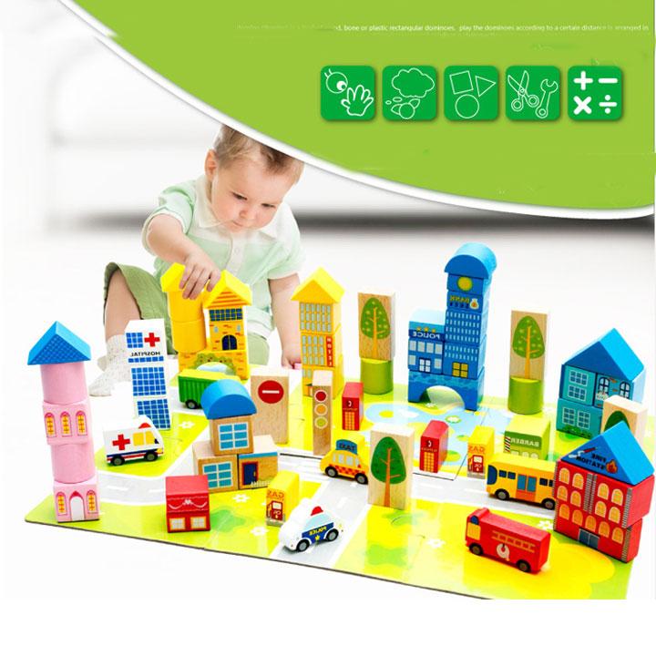 Bộ đồ chơi gỗ 2 trong 1 xếp hình gỗ giao thông kèm thả hình khối