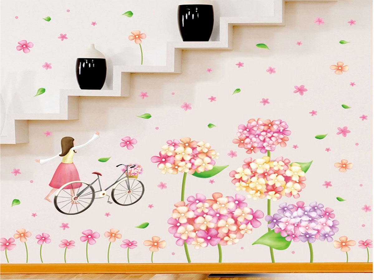 decal dán tường bé và hoa bồ công anh xl8215