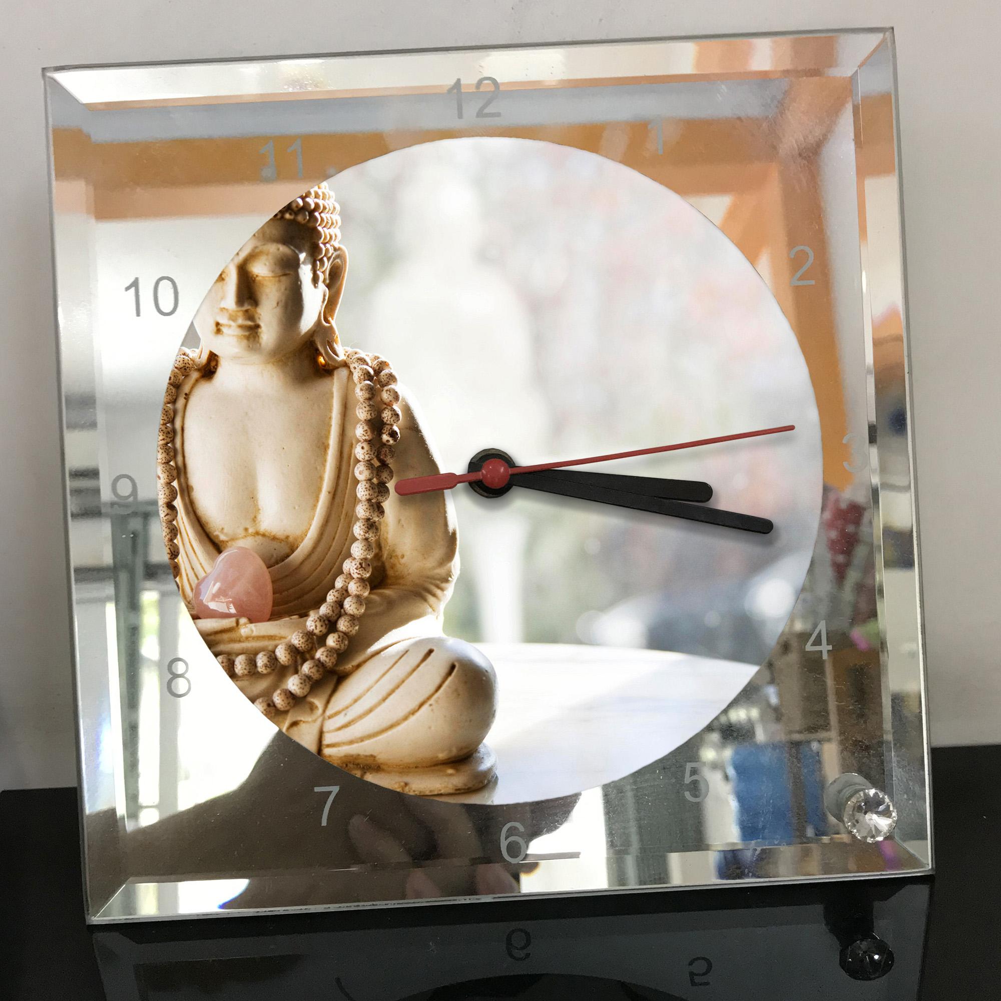 Đồng hồ thủy tinh vuông 20x20 in hình Buddhism - đạo phật (71) . Đồng hồ thủy tinh để bàn trang trí đẹp chủ đề tôn giáo