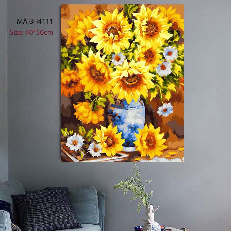 Tranh tự tô màu số hóa Hoa hướng dương rực rỡ BH4111