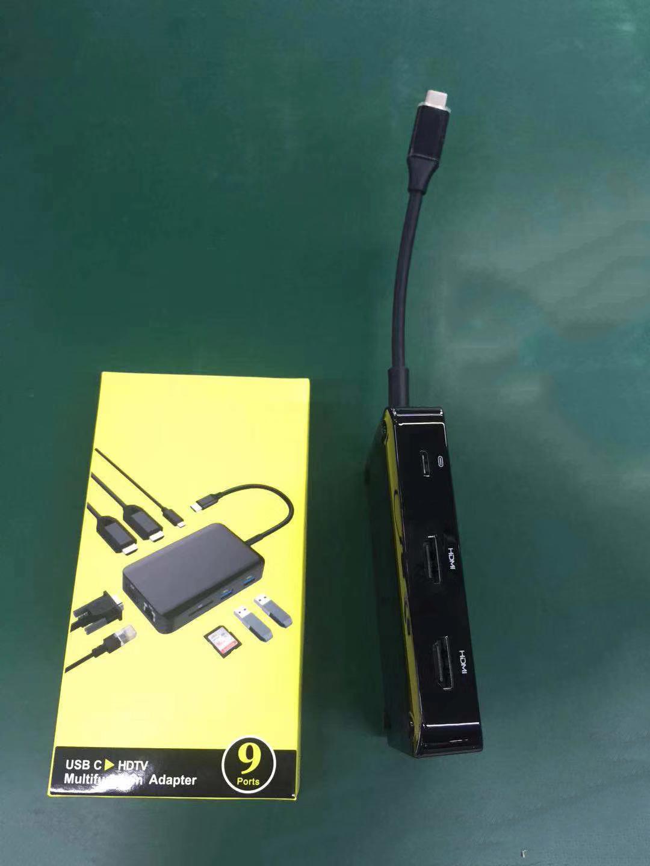 Hub chuyển đổi USB Type-C 9in1-1 - HDMI x 2, VGA x 1, LAN 1000Mbps x 1, PD