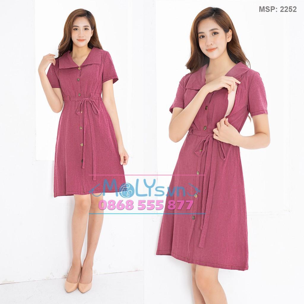 Đầm bầu kết hợp cho con bú MOLYS 252 vải line thấm hút mồ hôi vintage đai thắt linh hoạt