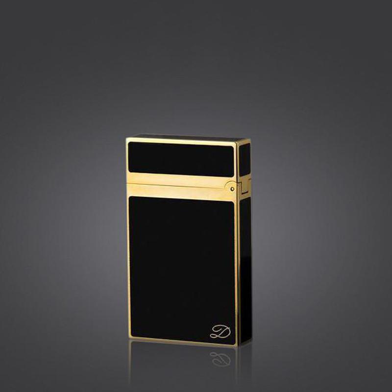 Hột Quẹt Bật Lửa Dùng Gas Đá Sơn Mài Trơn Sang Trọng Lịch Lãm Cho Phái Nam (Đen Vàng)
