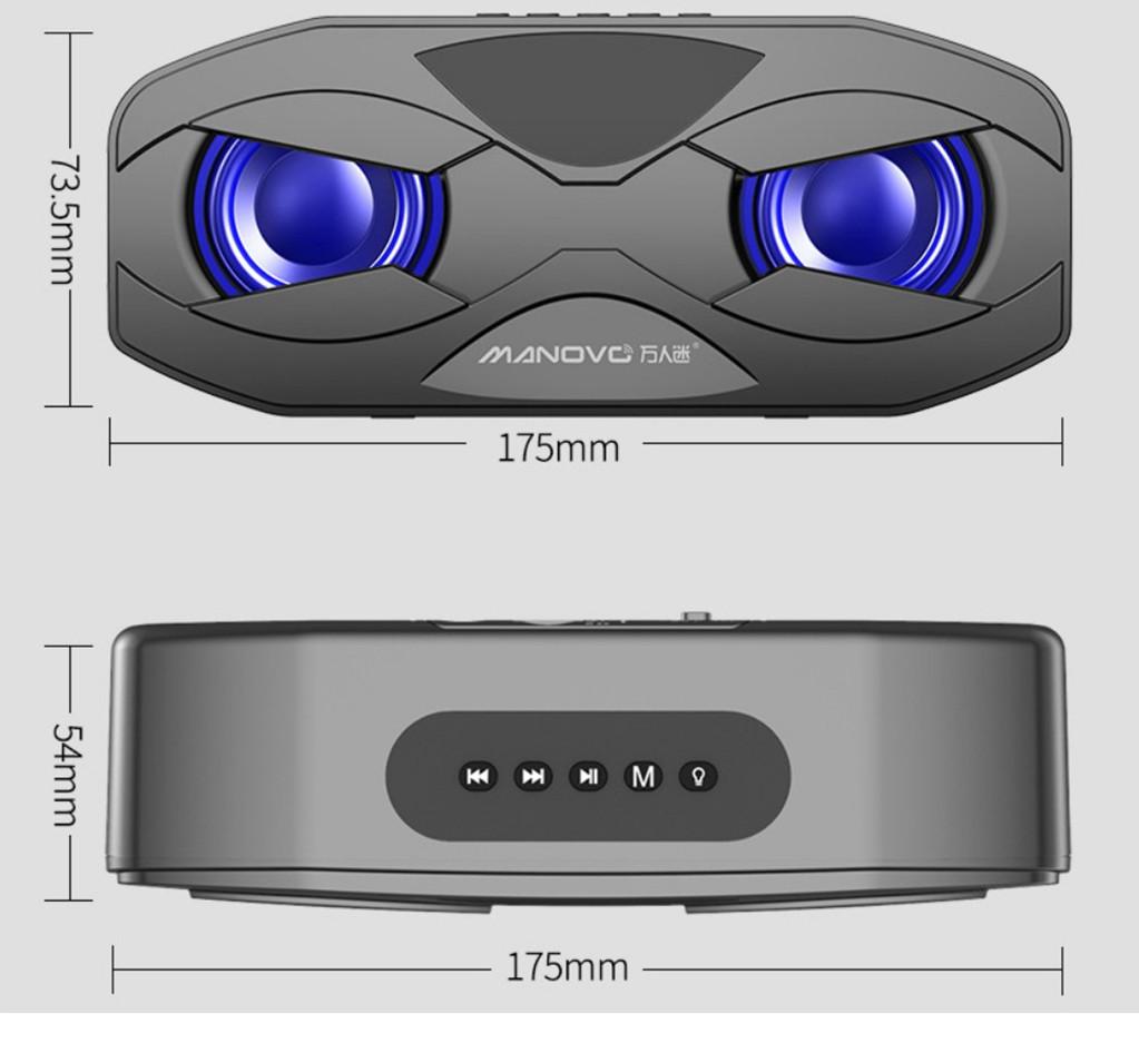 Loa Bluetooth Manovo M4 - Loa kép bass cực mạnh dây jack 3.5mm, Loa siêu trầm - hàng nhập khẩu