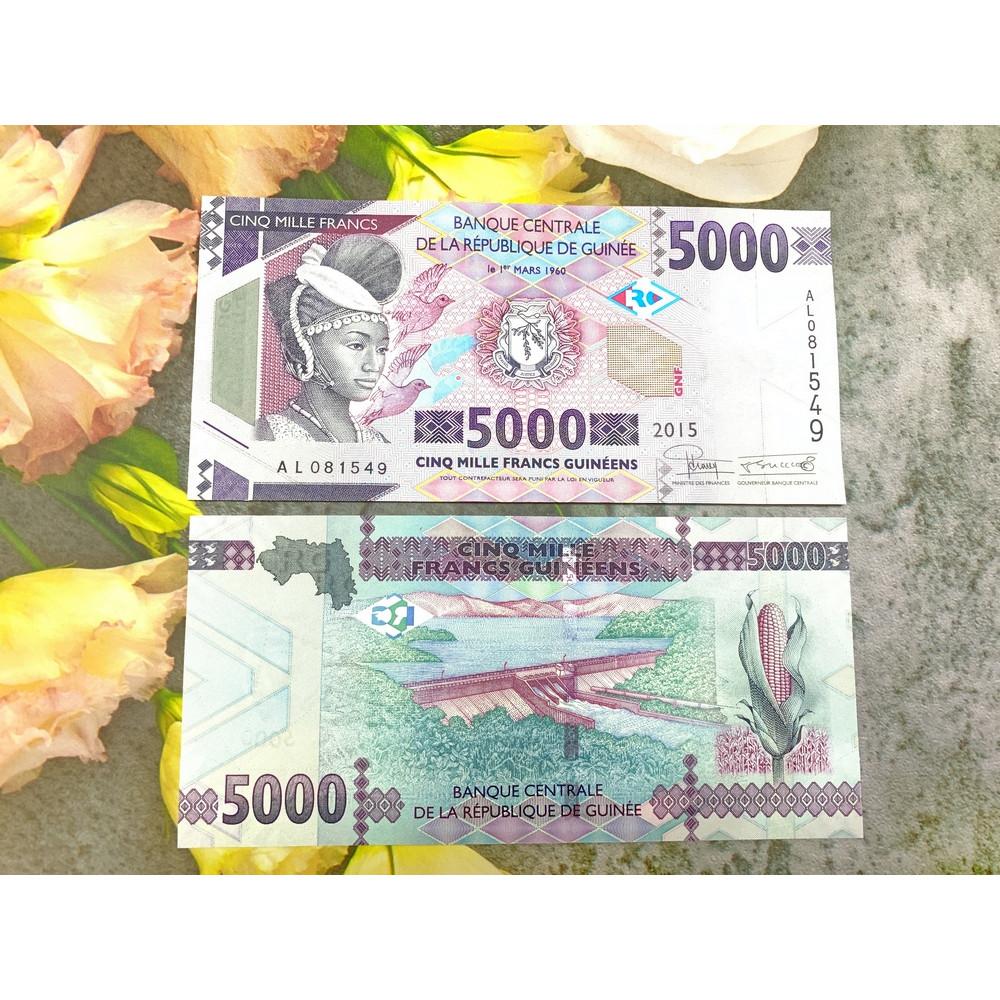 Tiền cổ Guinea 5.000 Francs sưu tầm , tiền quốc gia châu Phi , mới 100% UNC, tặng túi nilon bảo quản