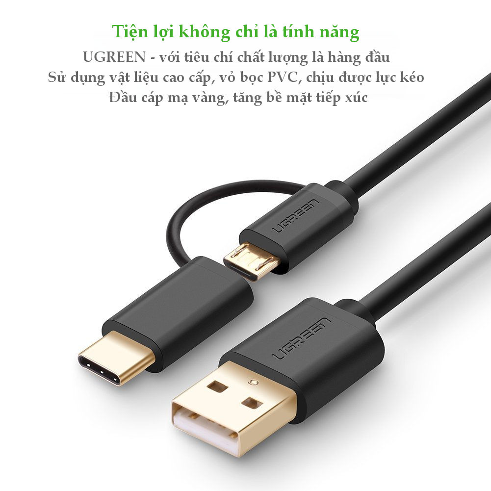 Dây Micro-USB đa năng 2 trong 1 kèm đầu chuyển USB Type C UGREEN US142 - Hàng Chính Hãng