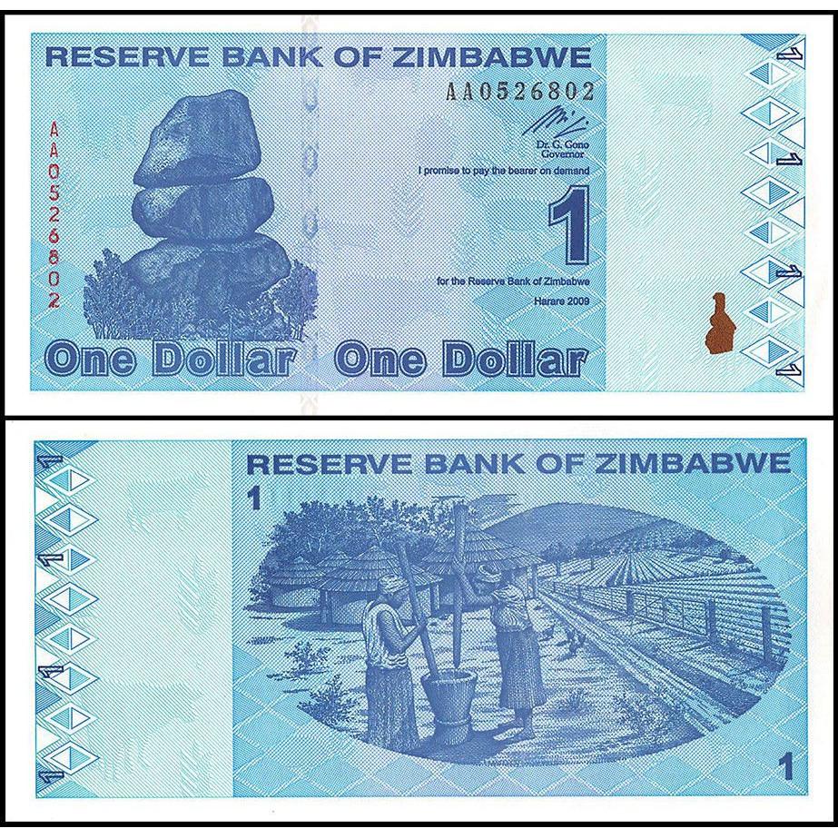 Tiền châu Phi, 1 dollar Zimbabwe sưu tầm