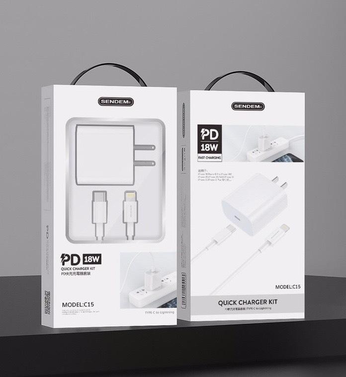 Bộ Củ Cáp Sạc Nhanh 18W SENDEM C15 Hỗ Trợ PD Super Chager Cho Điện Thoại iPhone 11/ 11 Pro/ 11 Pro Max, iPad, Macbook - Hàng Chính Hãng
