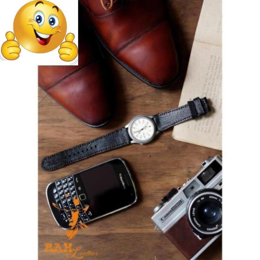 (TẶNG KHÓA + CÂY THAY DÂY + 2 CHỐT) Dây đồng hồ RAM Classic 1955 - Da dê đen tuyền vân alran tự nhiên - hàng chính hãng