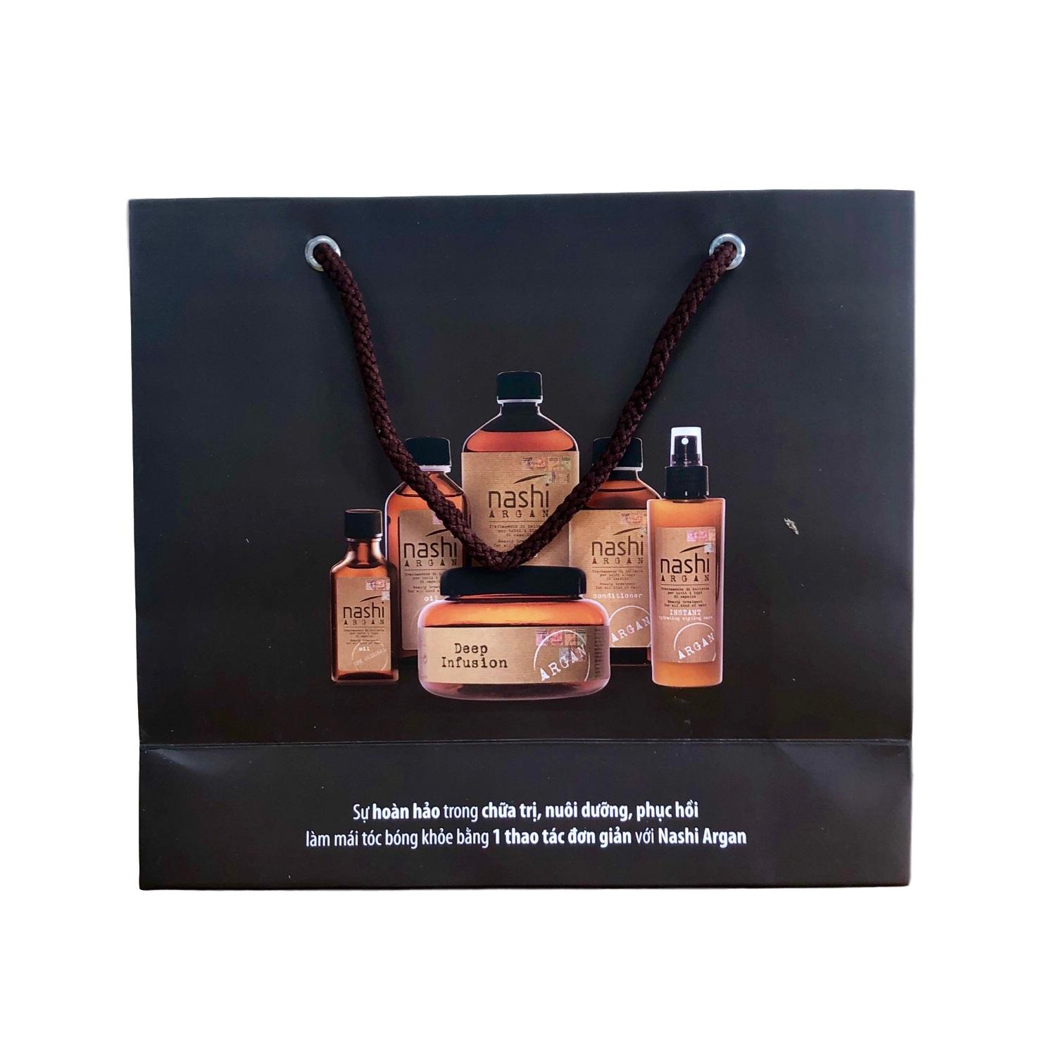 Túi giấy đựng mỹ phẩm quà tặng cao cấp (Màu nâu đen) 20x22x8cm set 50 cái
