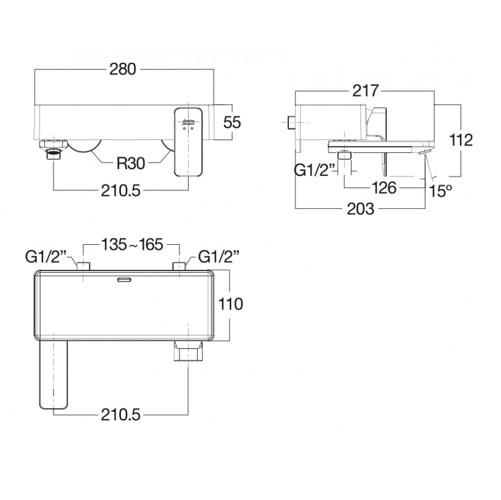 Vòi tắm sen nóng lạnh gắn tường American Standard Acacia E WF-1311(FFAS1311) mỏ xả nước có thể gập vào được