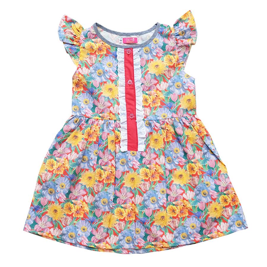 Đầm Bé Gái Hoa Vàng Gài Nút Trước CucKeo Kids T11933 - Size 7
