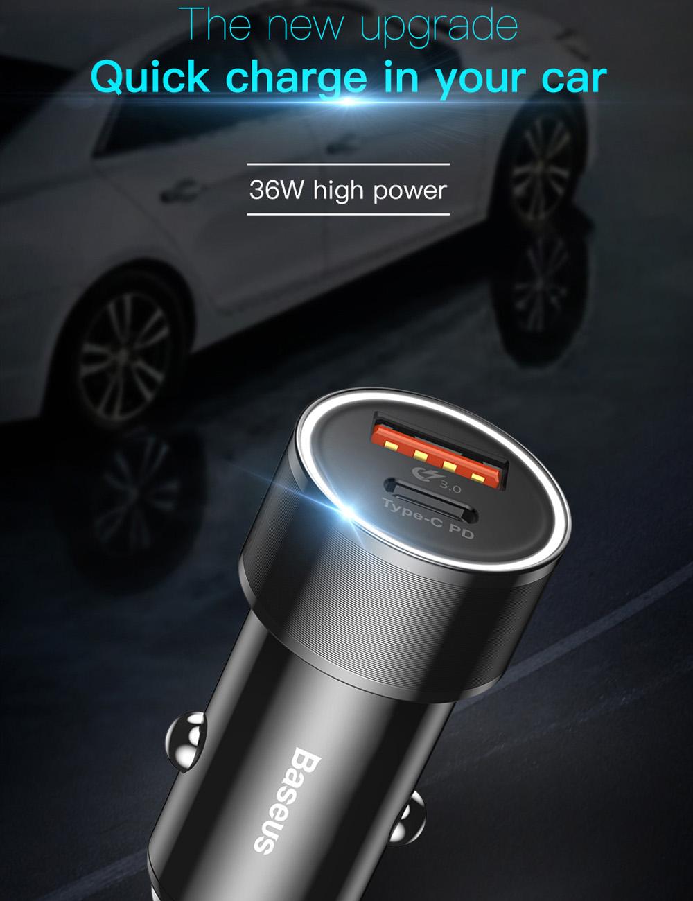 Bộ tẩu củ sạc nhanh 2 cổng USB và Type-C cho điện thoại / Macbook Pro dùng cho xe hơi hiệu Baseus Small Crew Type C PD Fast Charge 36W & USB Quick charge 3.0 - Hàng chính hãng