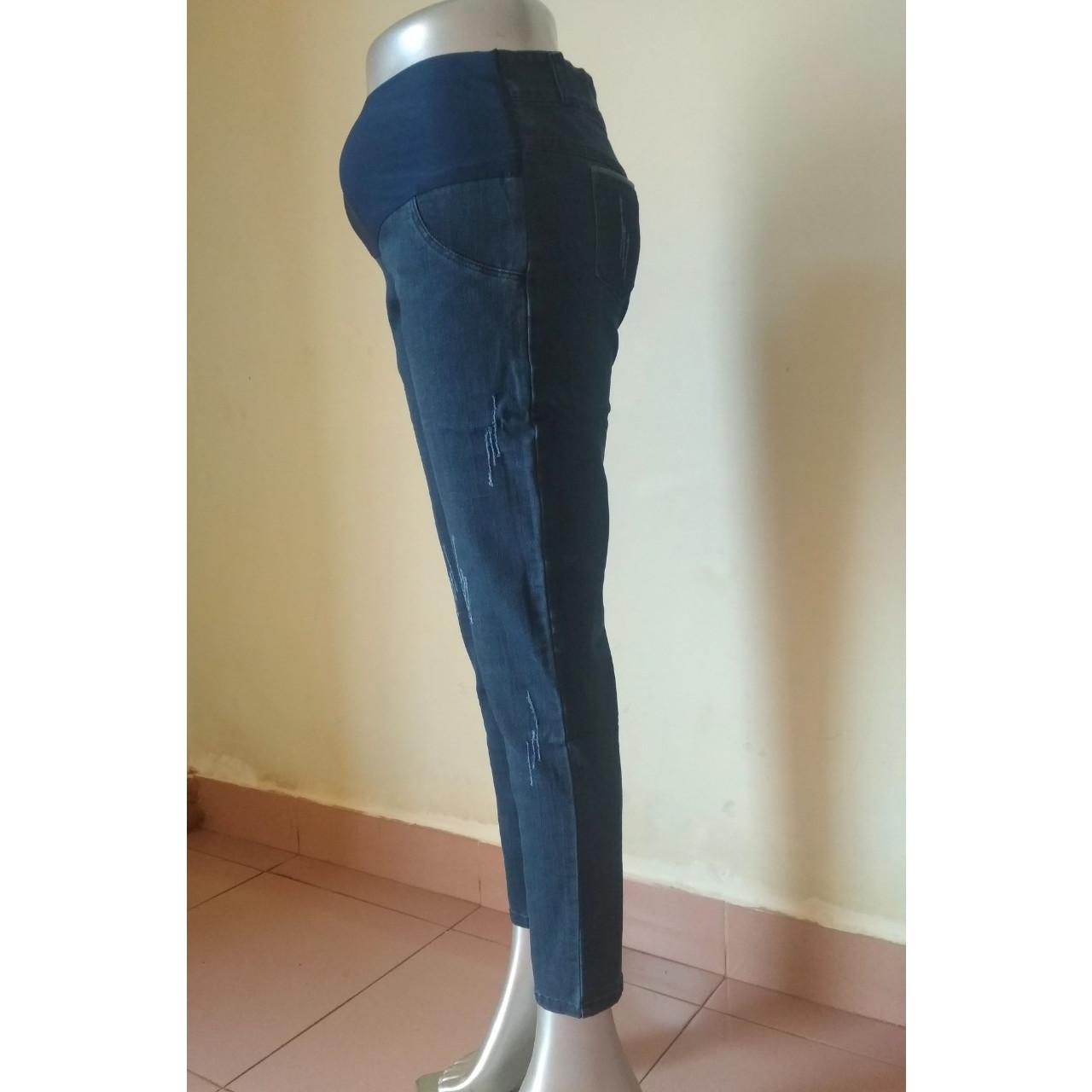 Quần jeans bầu dáng dài có co giãn
