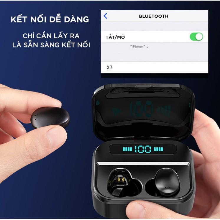Tai nghe không dây bluetooth nút cảm ứng cao cấp kiêm dock sạc pin dự phòng - chống nước chuẩn ipx7 - thời gian nghe 90h
