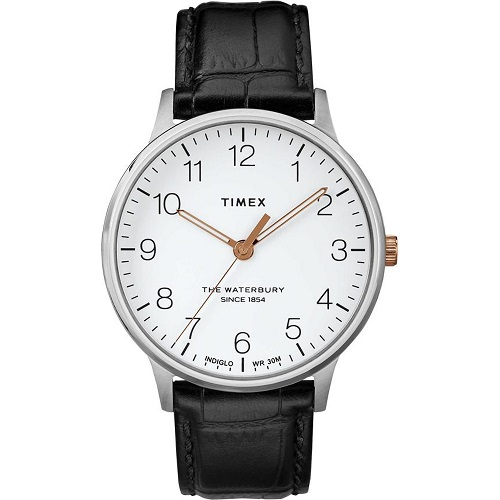 Đồng hồ Nam Timex Classic Black Dial Leather Strap Men's Watch TW2R71300BT - 40mm