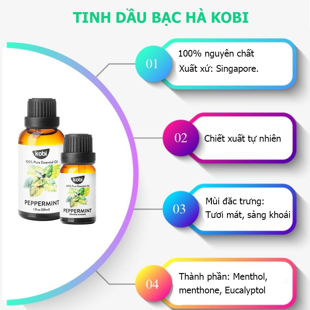 Combo Tinh Dầu Sả Chanh Kobi (10ml) + Tinh Dầu Bạc Hà Kobi (10ml) + Tinh Dầu Tràm Gió Kobi (10ml) Nguyên Chất