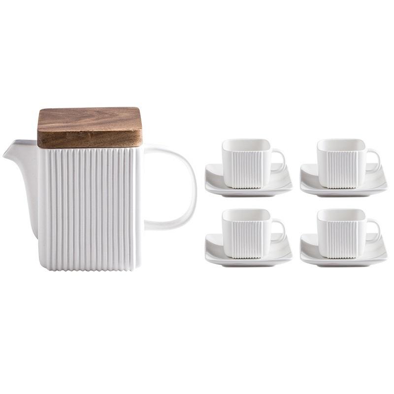 Bộ ấm trà & cốc sứ vuông phong cách Bắc Âu - White