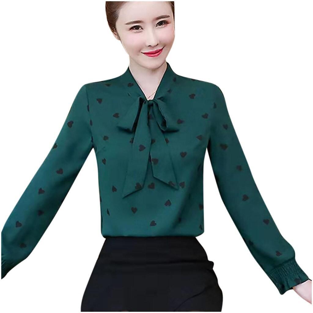 Áo sơ mi nữ công sở dài tay, áo sơ mi họa tiết tim cổ nơ thời trang