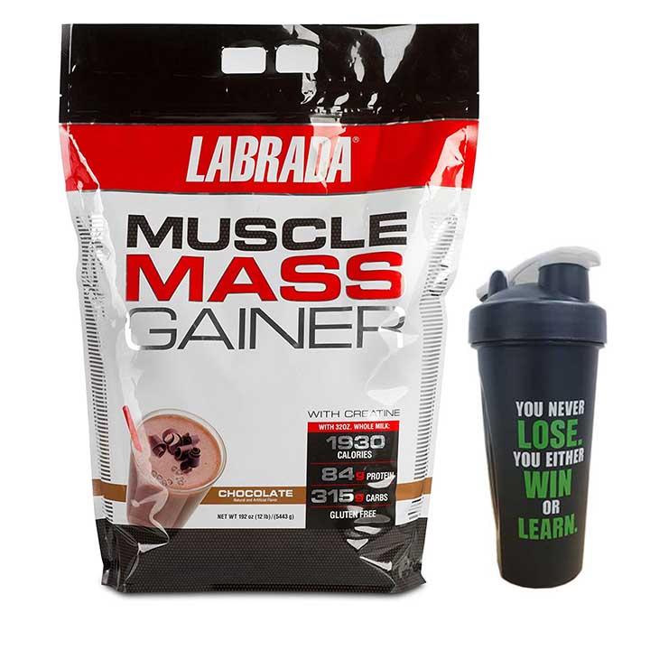 Combo Sữa tăng cân tăng cơ Muscle Mass Gainer của Labrada hương socola bịch 5.4 kg hỗ trợ tăng cân tăng cơ nhanh cho người gầy kén ăn, khó hấp thụ thức ăn tự nhiên & Bình lắc 600 ml (Màu Ngẫu Nhiên)