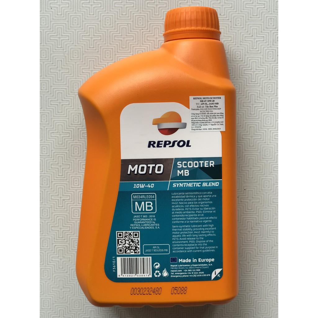 Combo nhớt xe tay ga cao cấp Repsol Scooter 10W40 800ml tặng nhớt hộp số Repsol Gear Oil 120ml