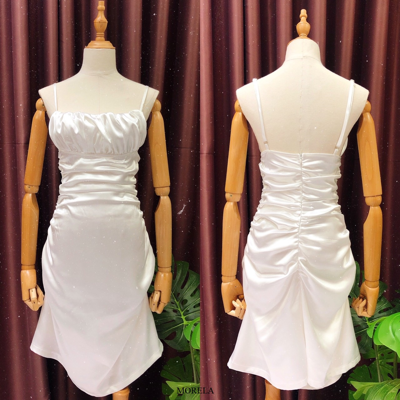 Đầm maxi lụa 2 dây nhún thân Morela dress - đầm lụa thiết kế - đầm dự tiệc sang trọng