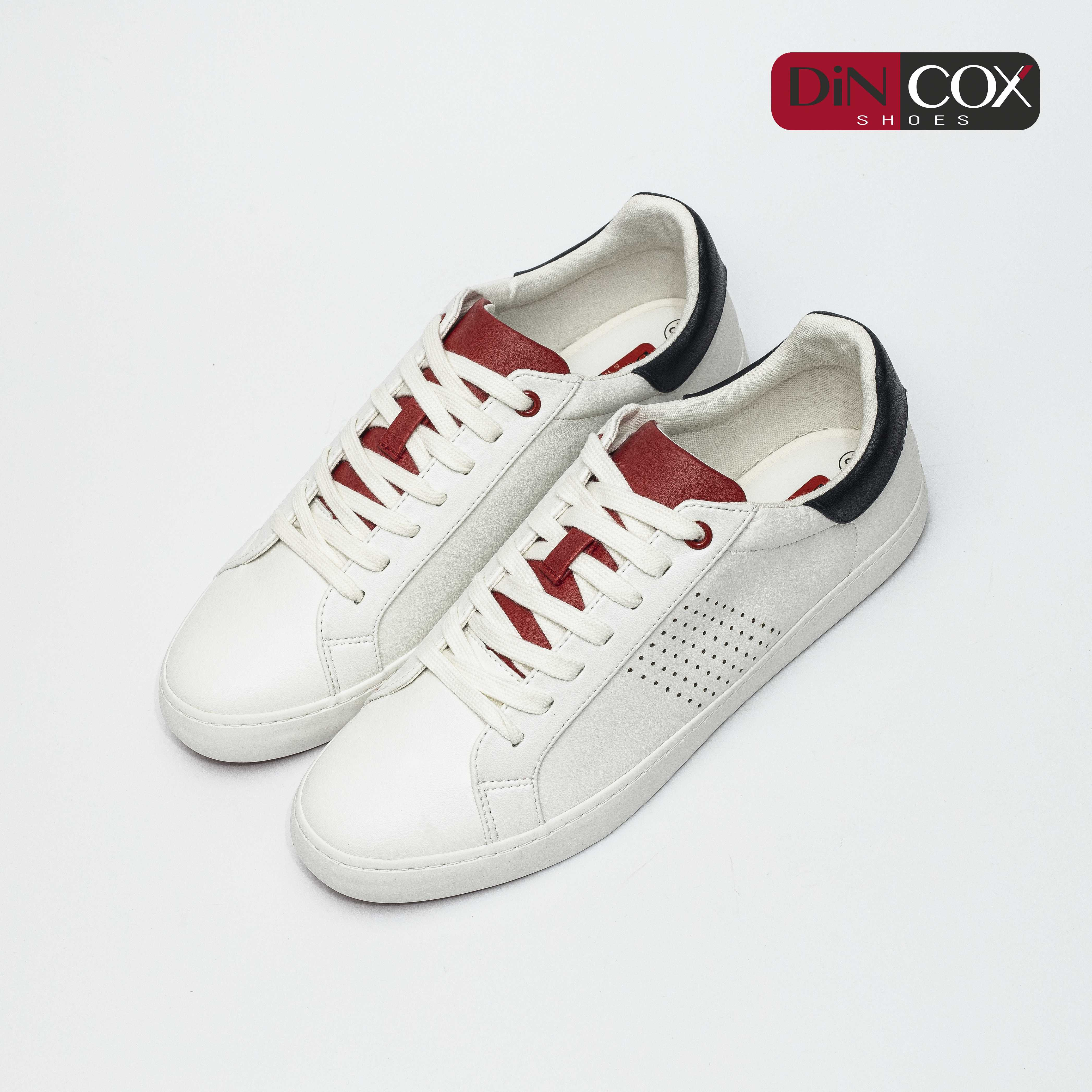 Giày Sneaker Nam C01 Offwhite/Red Dincox