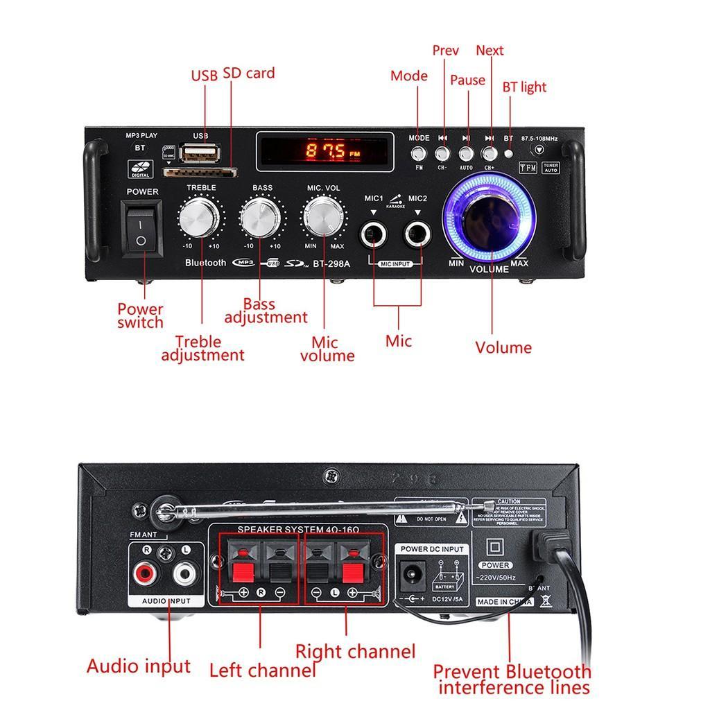 Amly karaoke, Âm ly giá rẻ, Amly Mini Bluetooth BT-298A cao cấp, chức năng đa dạng, ƯU ĐÃI CỰC KHỦNG