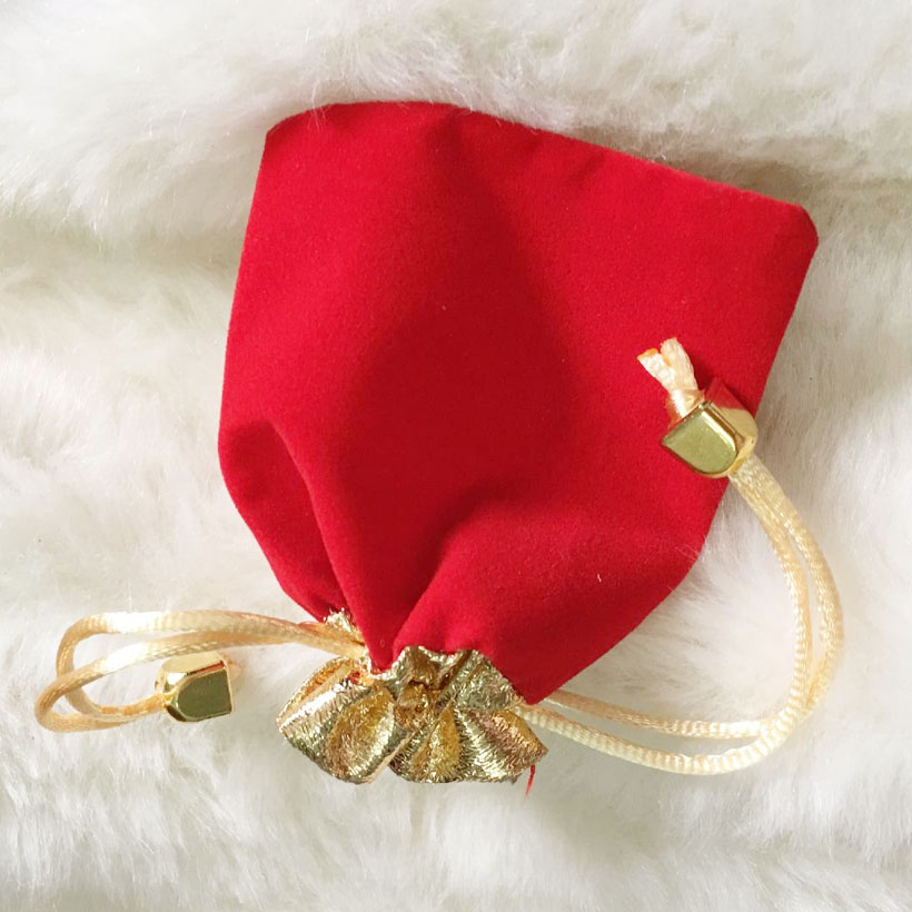 Combo 10 Túi Gấm Đỏ Kim Tiền Jewelry 08 x 12 cm - Đựng Trang Sức - Đồ Linh Tinh
