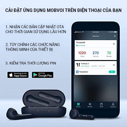 Tai nghe Bluetooth không dây TicPods 2 Pro Xanh Navy - Hàng chính hãng 100%