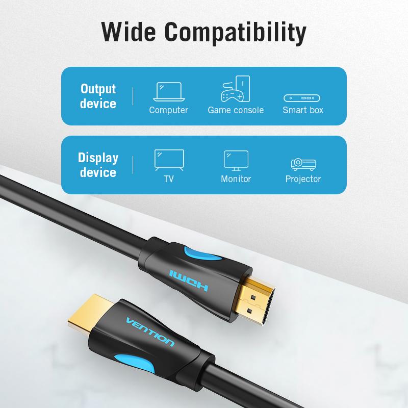 Cáp HDMI 2.0 Vention dài 1m - 15m hỗ trợ 4K@60Hz AAHB - Hàng chính hãng