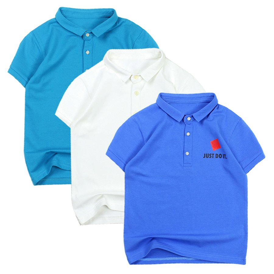 Áo bé trai in JUST DO IT casual cài nút cổ trụ tay ngắn cho bé trai 8-16 tuổi từ 24 đến 50 kg 05522-05517