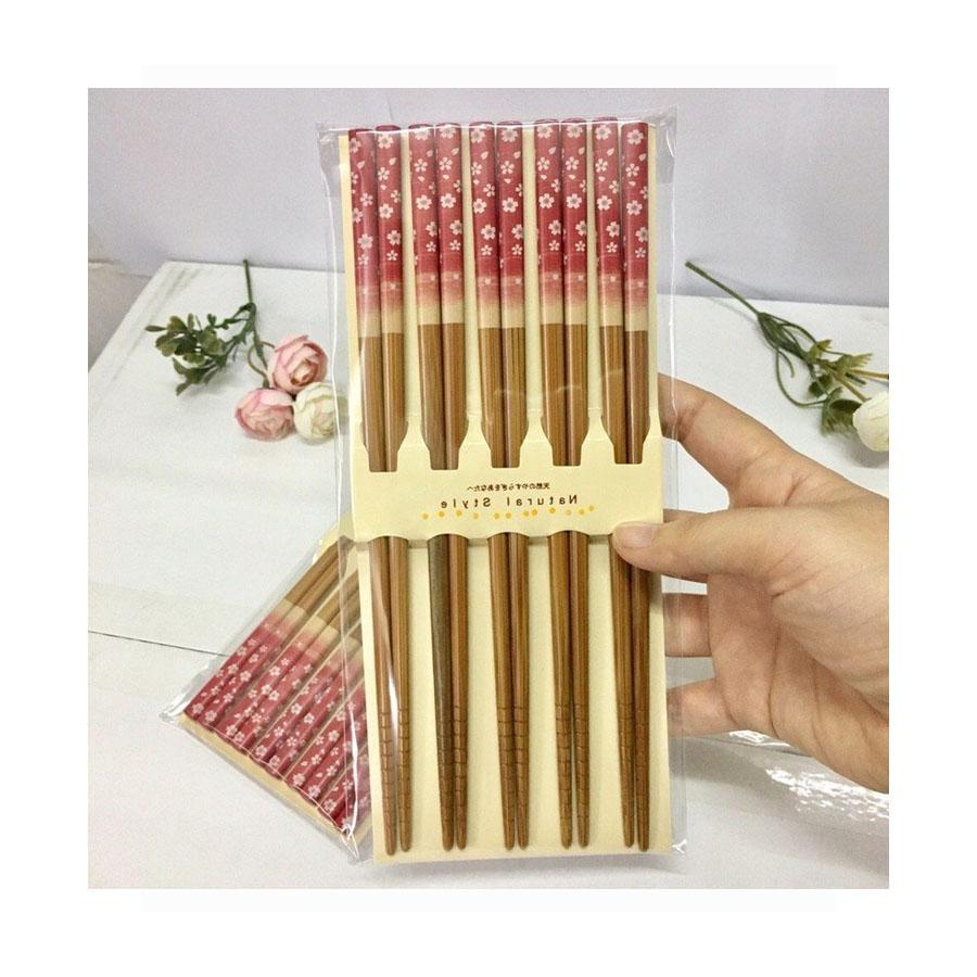 Combo 2 - 5 đôi đũa cao cấp mẫu hoa đỏ - Hàng Nội Địa Nhật