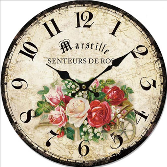 Đồng hồ treo tường Vintage Phong cách Châu Âu size to 30cm DH25 Hoa hồng