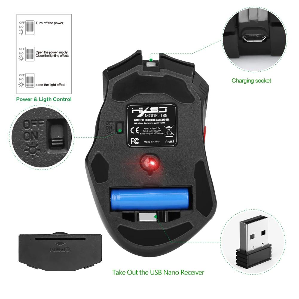 Chuột HXSJ T88 Bluetooth Không Dây Chuyên Dùng Cho Gamer, Văn Phòng Không Mỏi Cổ Tay, Đèn Nền 7 Màu, Độ Nhạy 4000DPI, Sử Dụng Pin Sạc 1300mAh, Độ Bền Nút Bấm Lên Tới 10 Triệu Lần - Hàng Chính Hãng
