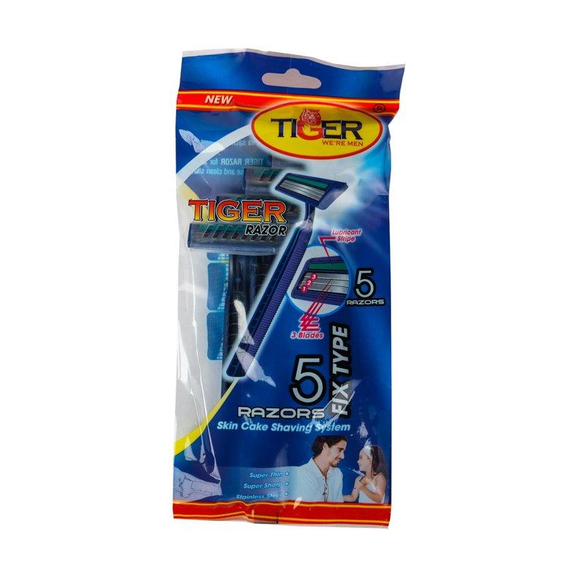 Combo 4 bịch Dao cạo râu 3 lưỡi Tiger (5 cây/ bịch)
