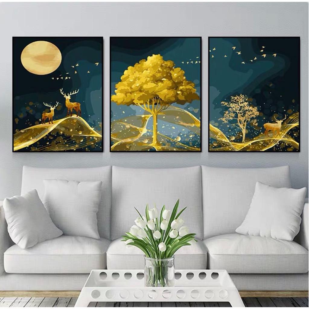 set 3 tranh sơn dầu số hoá tự tô đã căng khung hươu vàng MS21