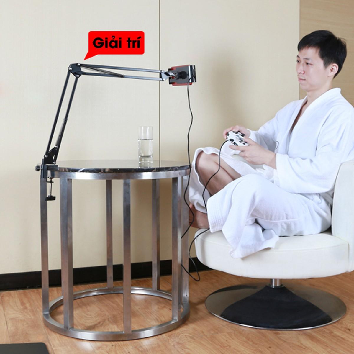 Giá đỡ điện thoại, máy tính bảng có chân kẹp đầu giường, cạnh bàn