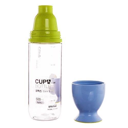 Bình Nước Nhựa Komax 500ml, Có Cốc Uống Nước - Mã 20445