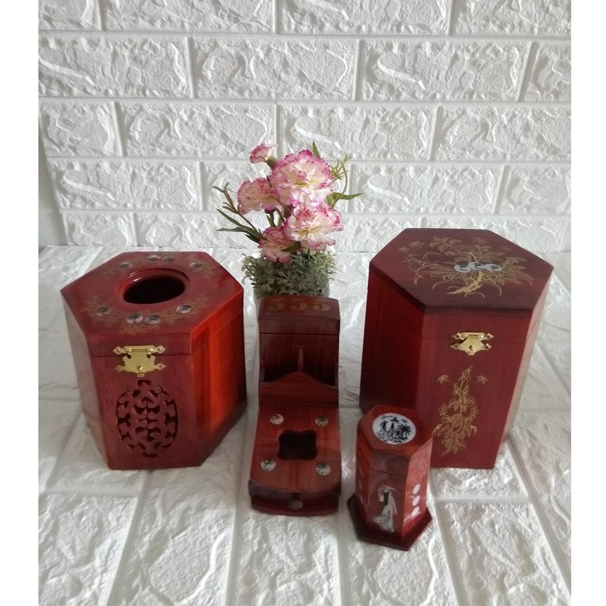Bộ 4 món tiện ích gỗ hương Hộp Trà lớn,gạt tàn,hộp tăm,hộp giấy lục lăng - CGLG04