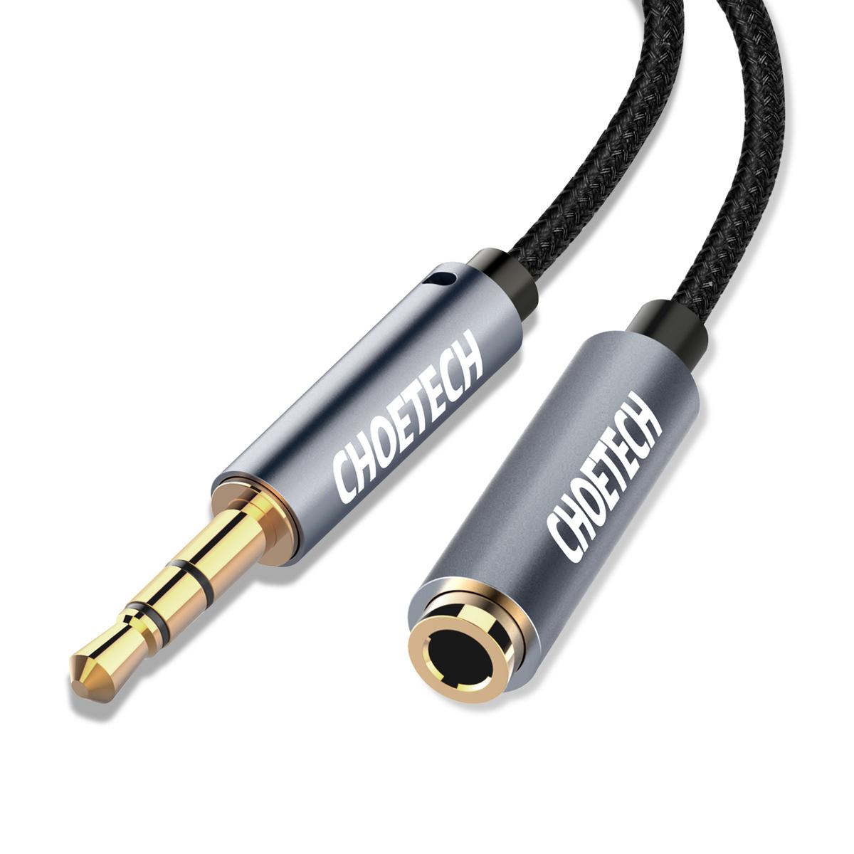 Cáp mở rộng CHOETECH Audio, 2 m, âm thanh nổi 3,5 mm, jack male to female cáp âm thanh cho iPhone, iPad, điện thoại thông minh, máy tính bảng - Hàng Chính Hãng