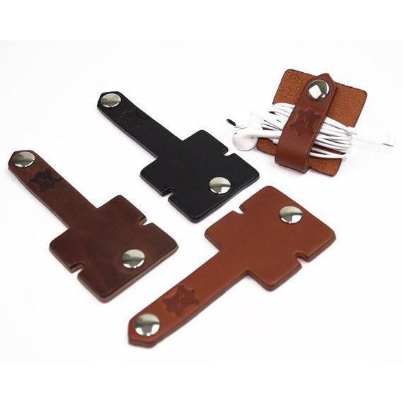 Dụng cụ quấn gọn dây cáp sạc/tai nghe tiện lợi bằng da bò thật giao màu ngẫu nhiên