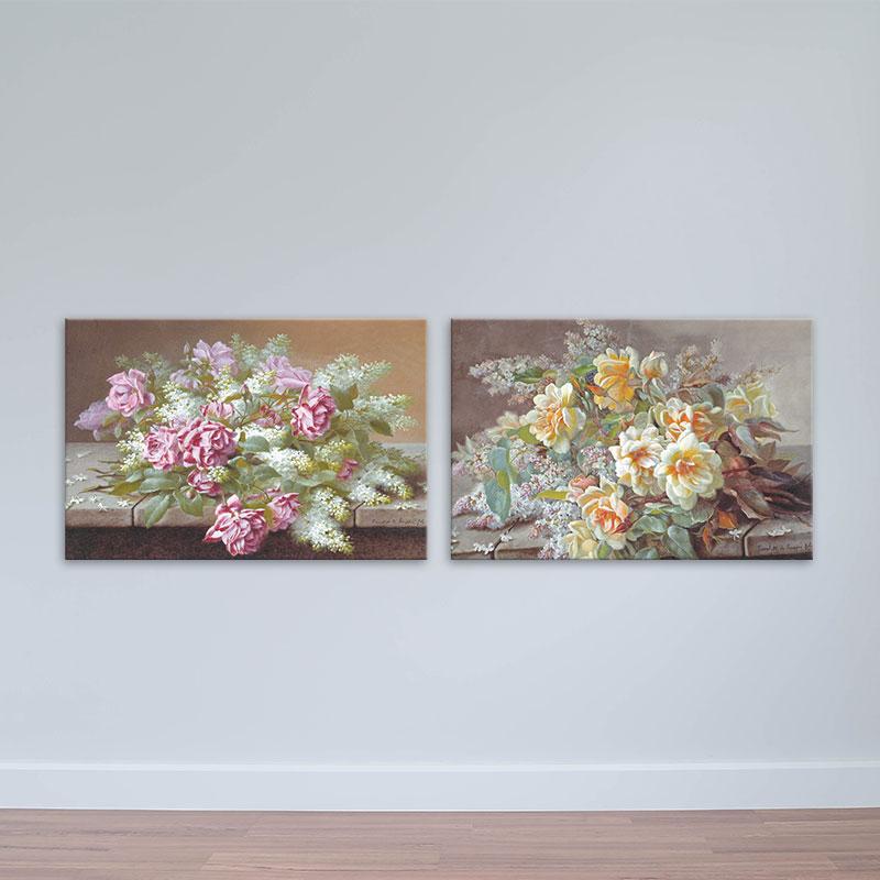 Bộ 2 tranh hoa lá cổ điển treo phòng ngủ, phòng khách W1765 - Size 40x60