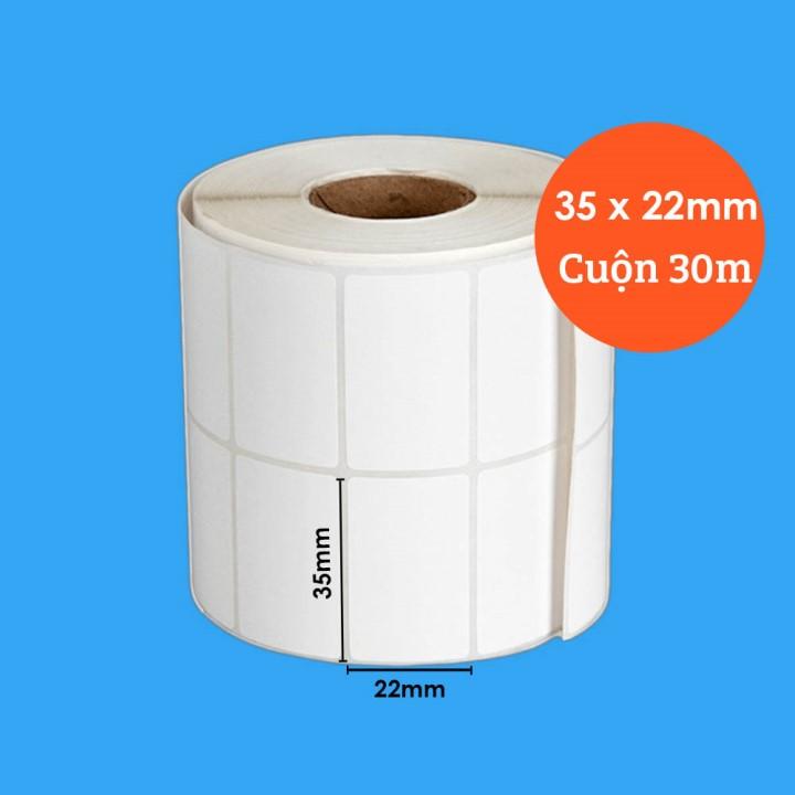 Giấy in mã vạch cuộn 2 tem 35x22mm, cuộn dài 30m cho máy in nhiệt
