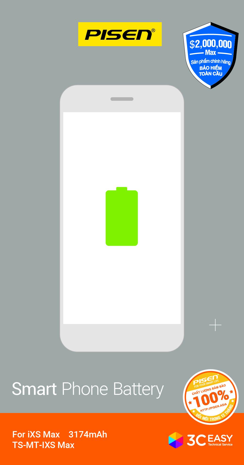 Pin dành cho iPhone IXS Max  Pisen _ Hàng Chính Hãng