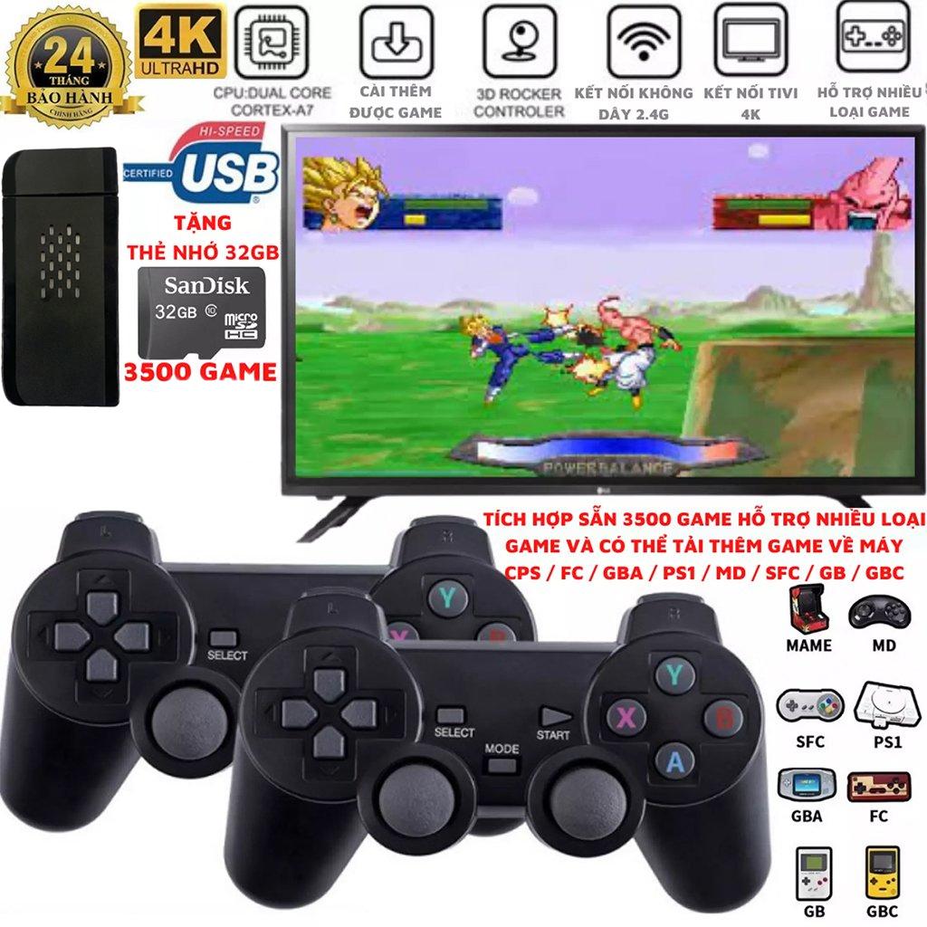 VINETTEAM Máy chơi game cầm tay 4 nút 4K HDMI 3000 trò chơi cổ điển PS1/Nitendo switch/FC Compact/FC 2 người chơi - kết nối TV 4K - Thẻ SD 32G - Hàng Chính Hãng