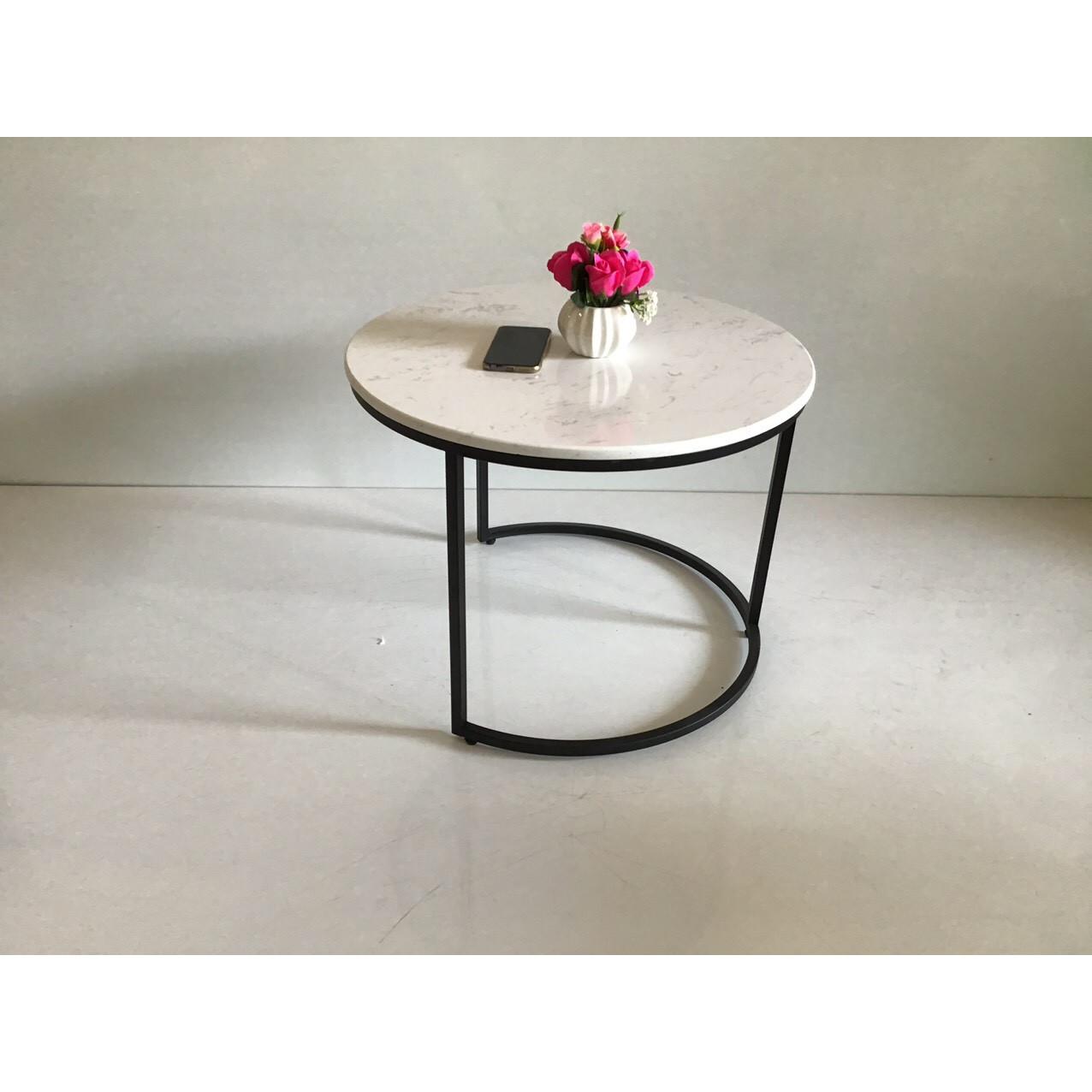 Bàn trà đơn mặt đá tròn đường kính 60 phù hợp mọi thể loại ghế sofa