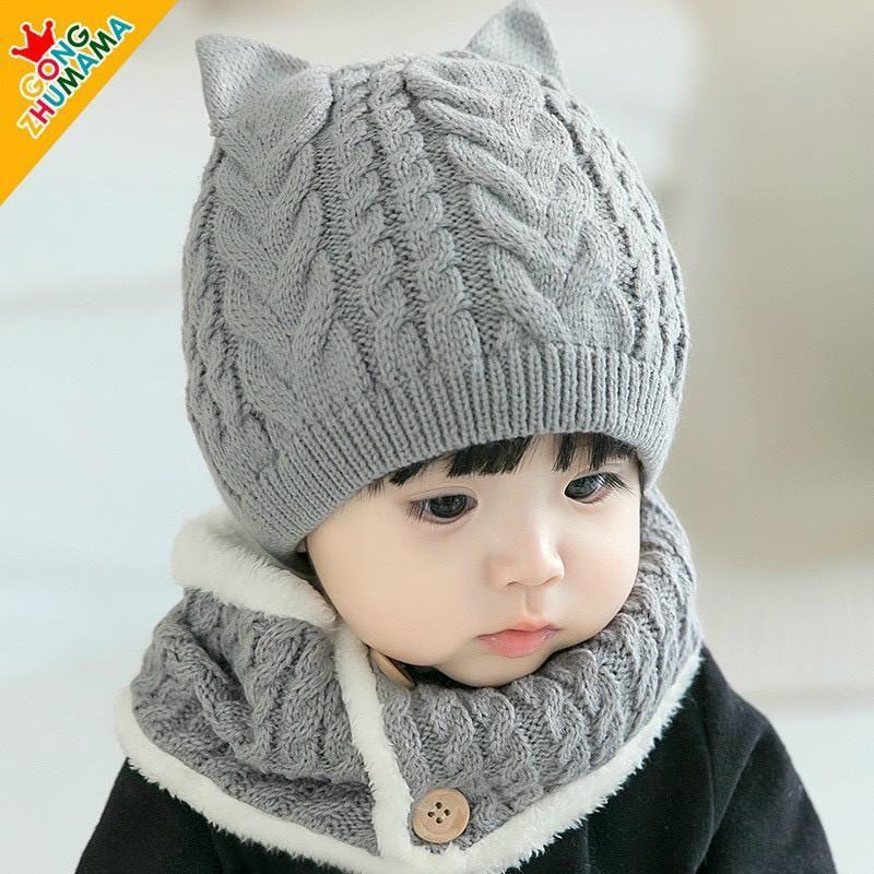103# Mũ len, Nón len cho bé có kèm khăn quàng cài cúc- dùng cho cả bé trai và bé gái từ 6 tháng đến 4 tuổi