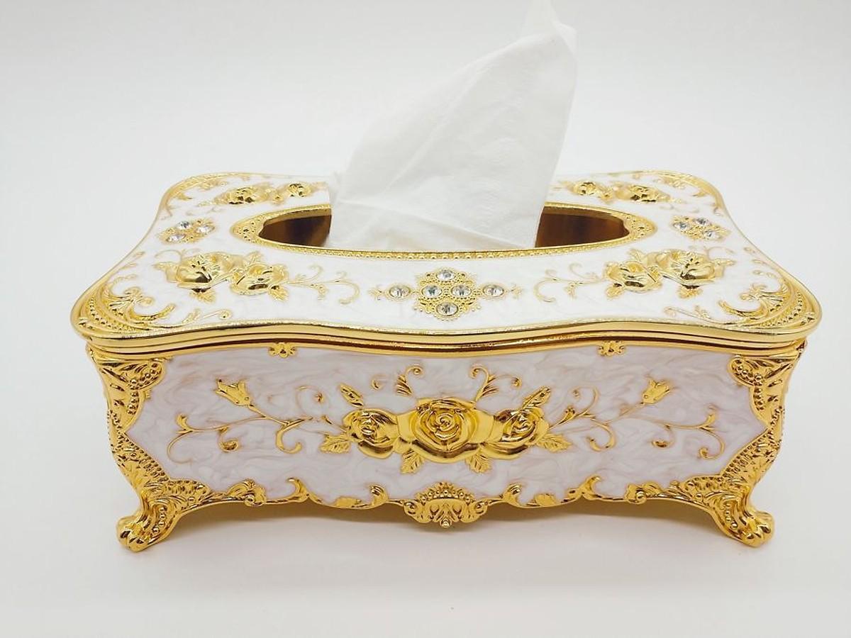 Hộp khăn giấy Hợp kim chữ nhật loại 1( mầu trắng vàng)